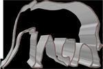 éléphant en profil métal